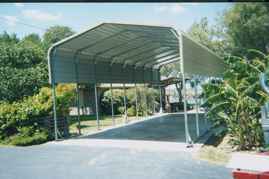 1 regular style carport with one sheet on sides and horizontal roof